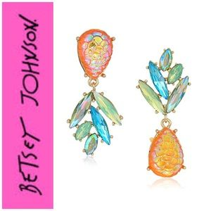 Betsey Johnson Pineapple Mismatch Earrings